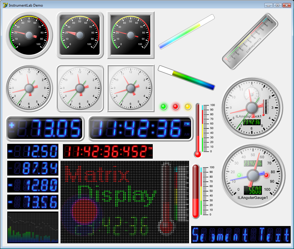 VCL/FMX Visual instruments - Gauges Thermometers Clocks Segment Indicators best Screen Shot