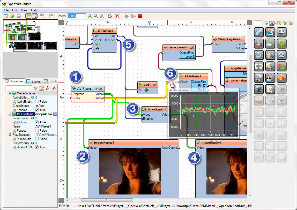 OpenWire Studio Large Demo in Debug Mode
